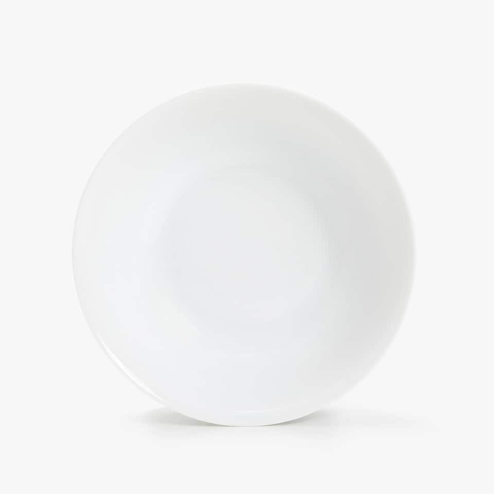 PORCELAIN SALAD BOWL WITH LINEAR DESIGN