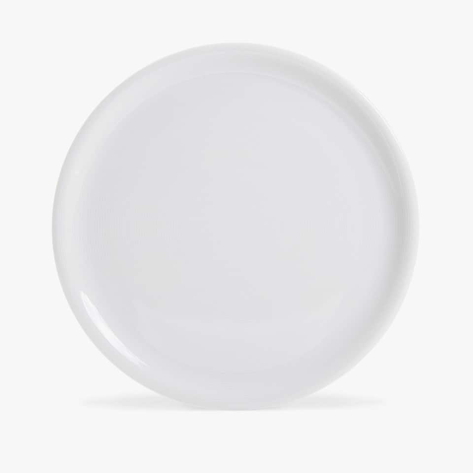 ROUND PORCELAIN SERVING DISH WITH LINES