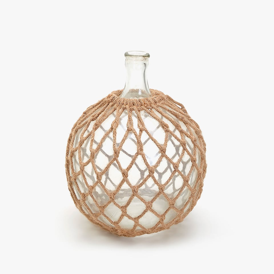 DECORATIVE GLASS AND JUTE BOTTLE