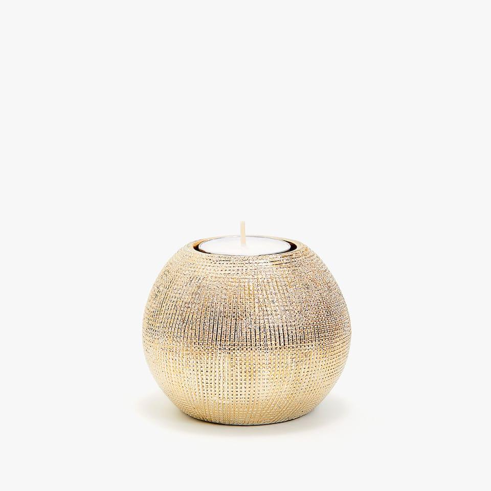 Stojan na sviečky z pruhovanej keramiky