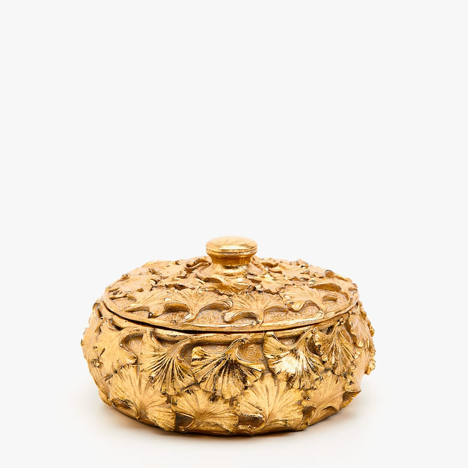 Gold box with embossed leaf design