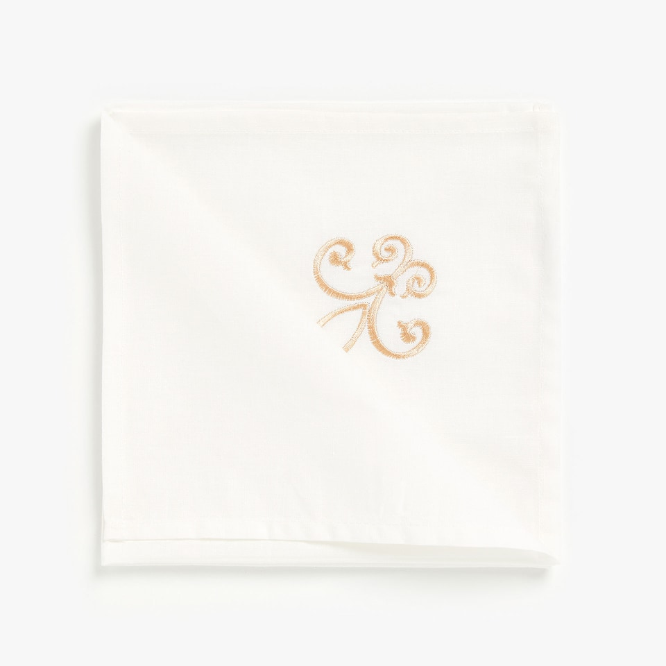 White embroidered cotton napkins (set of 4)