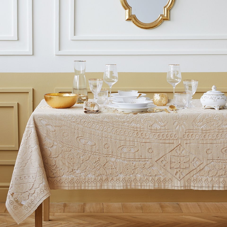 Gold crochet tablecloth
