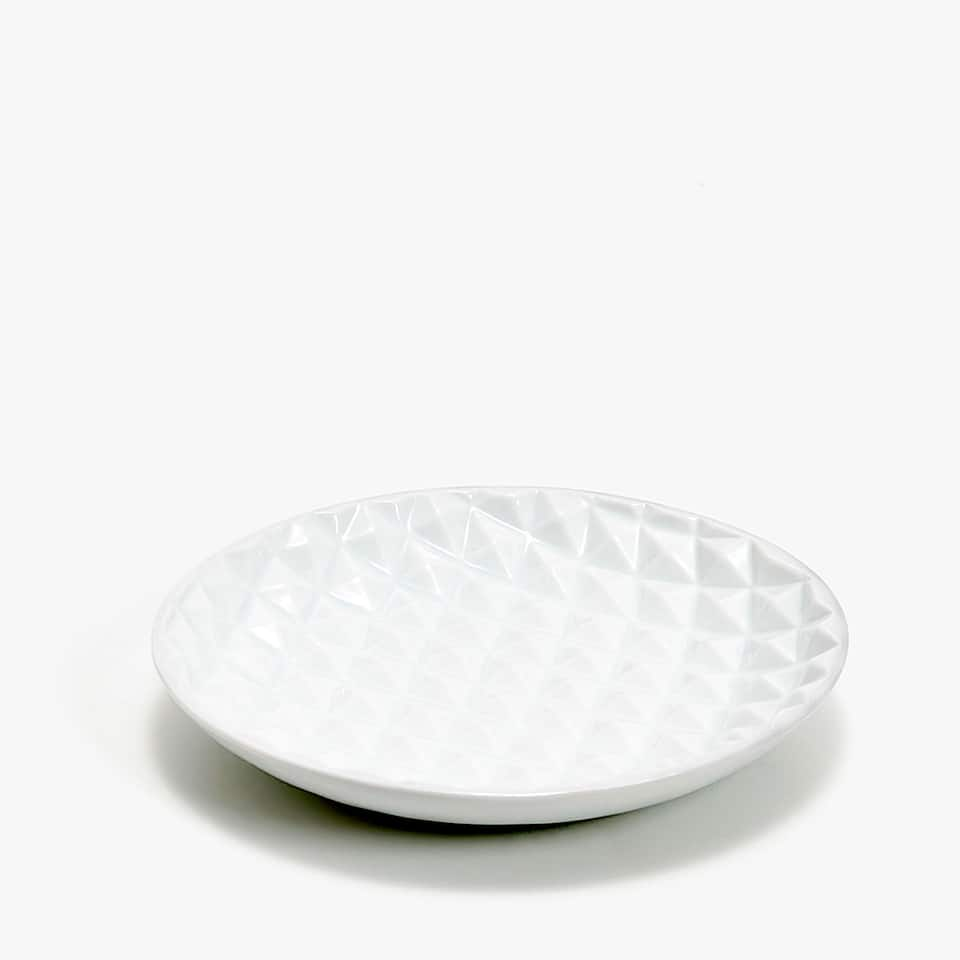 RAISED GEOMETRIC DESIGN CERAMIC SOAP DISH