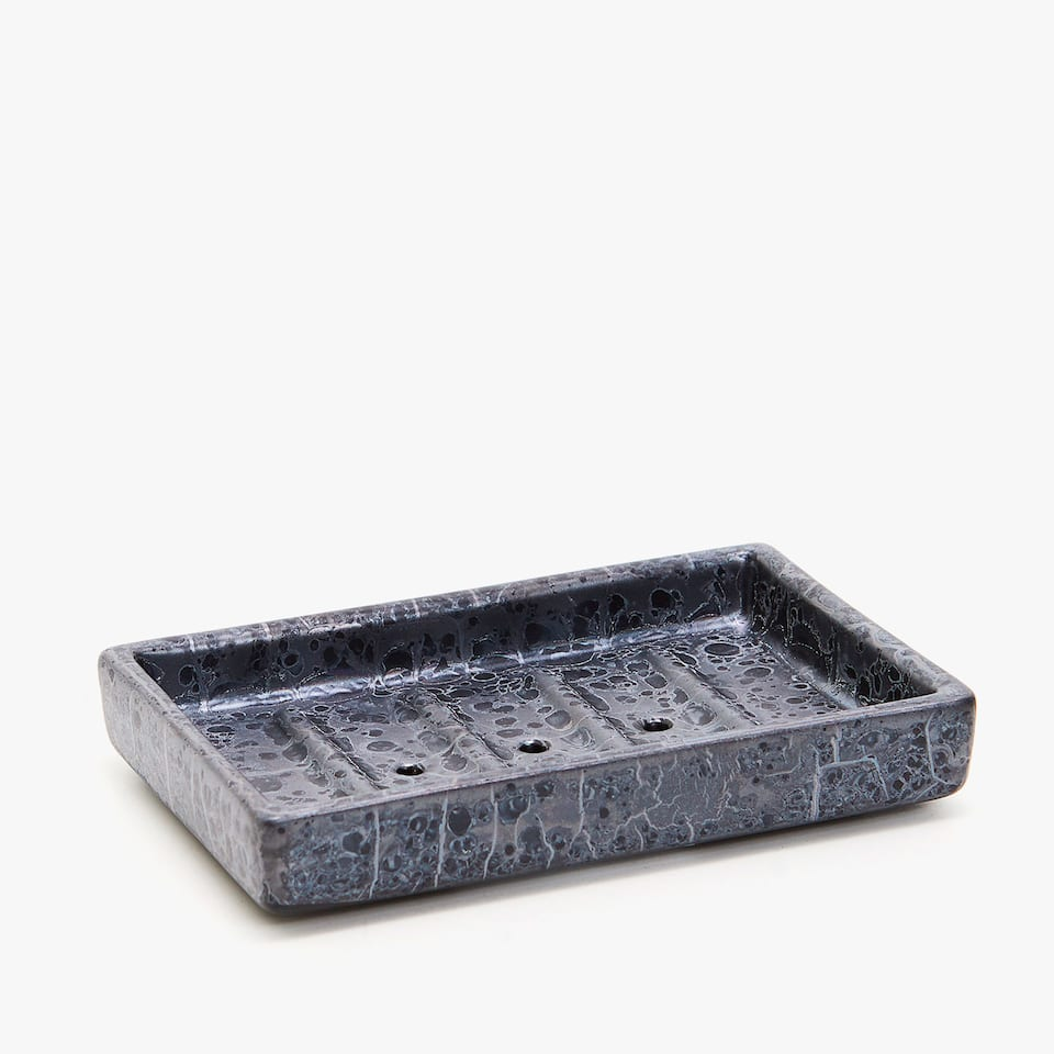 MARBLE-EFFECT CERAMIC SOAP DISH