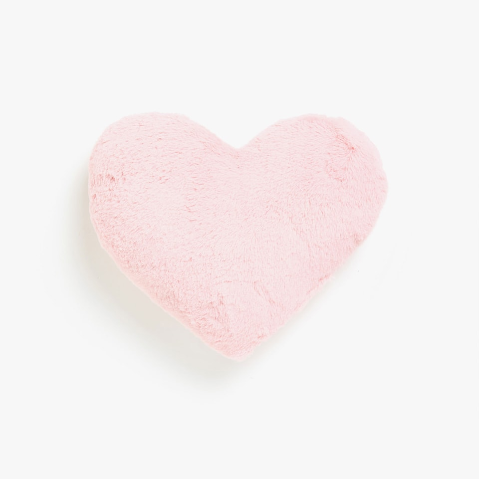 Pink heart-shaped faux fur cushion
