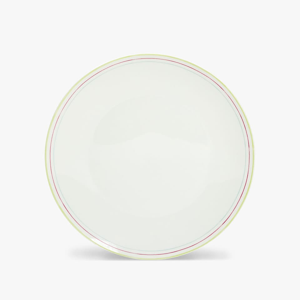 COLOURED STRIPED RIM DINNER PLATE