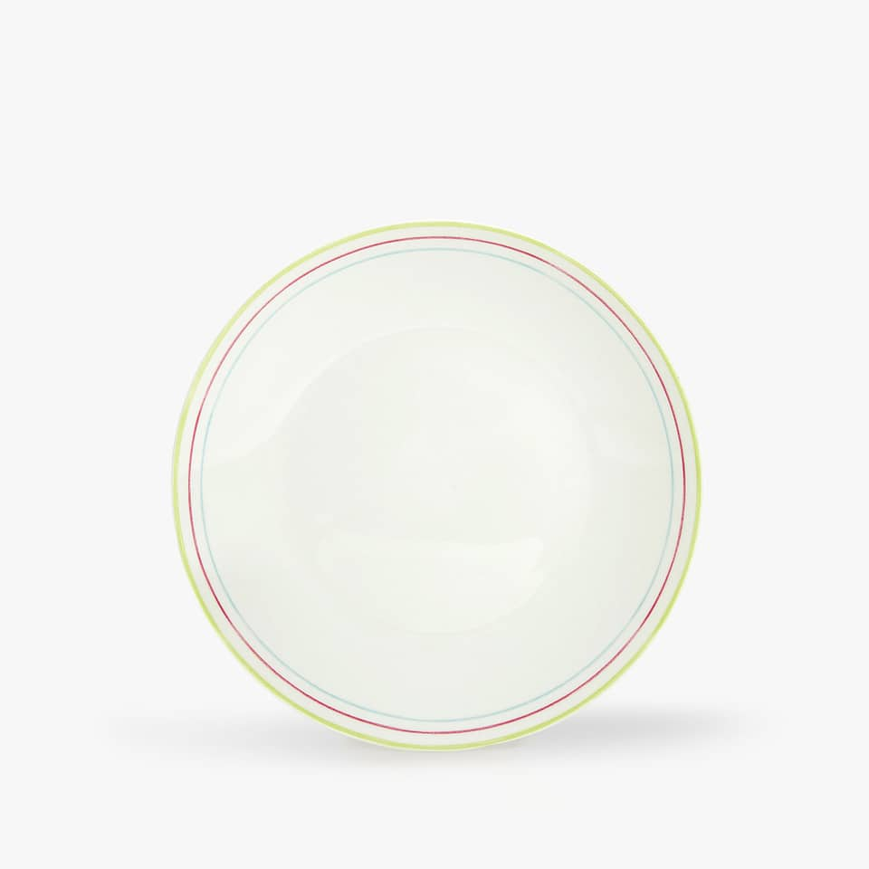 COLOURED STRIPED RIM DESSERT PLATE