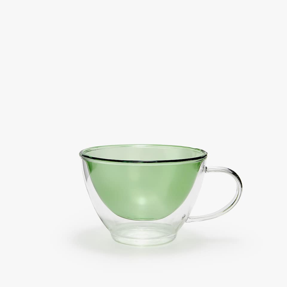 LARGE COLOURED DOUBLE-WALL BOROSILICATE GLASS MUG