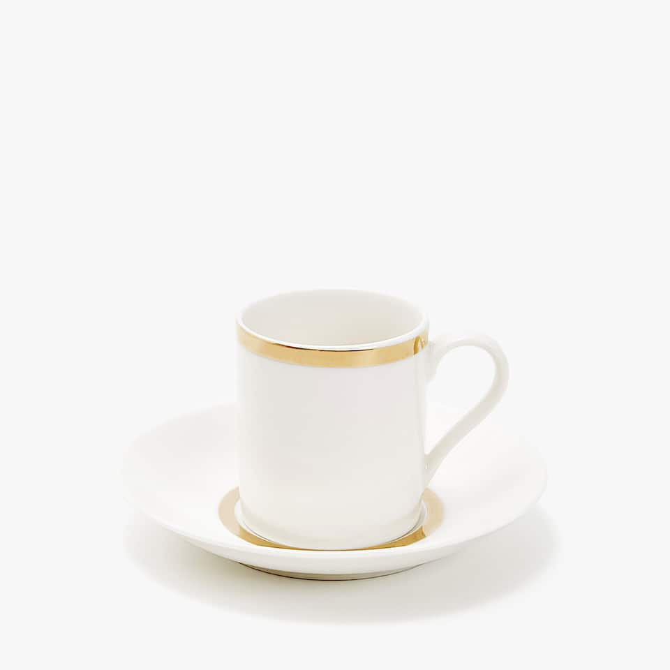 GOLD-RIMMED PORCELAIN COFFEE CUP AND SAUCER