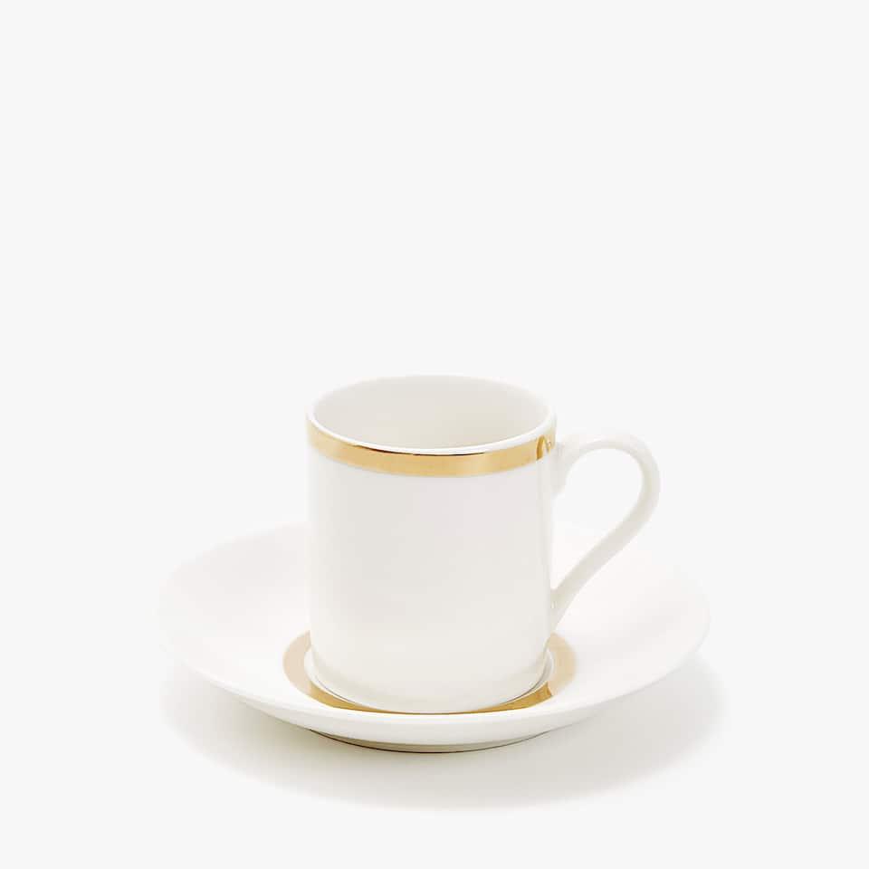 TASSE À CAFÉ ET SOUCOUPE PORCELAINE FILET DORÉ