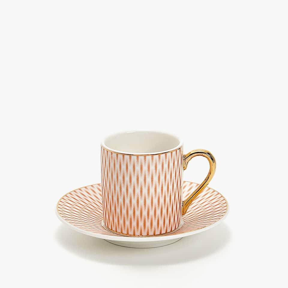 PORCELAIN COFFEE CUP AND SAUCER WITH METALLIC TRANSFER