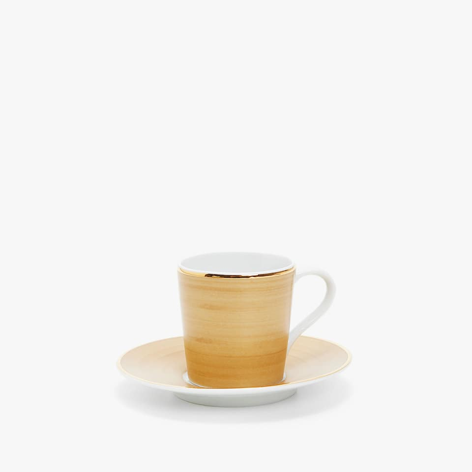 MATTE COFFEE CUP AND SAUCER WITH WIDE RIM