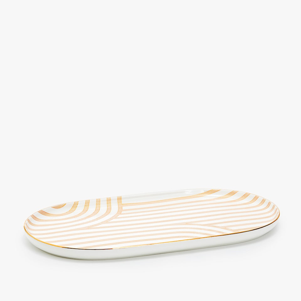 PORCELAIN SERVING DISH WITH STRIPED TRANSFER