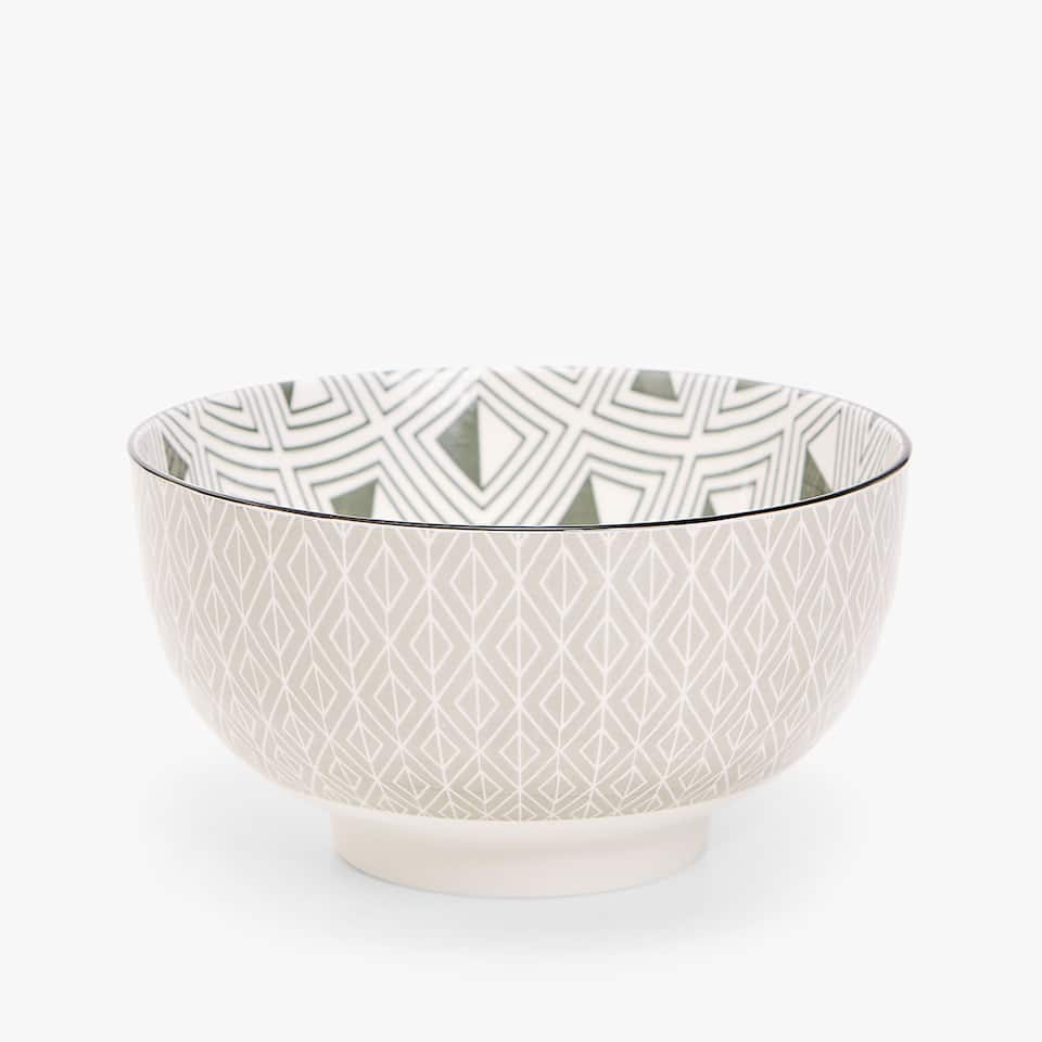 PORCELAIN SALAD BOWL WITH GEOMETRIC TRANSFER