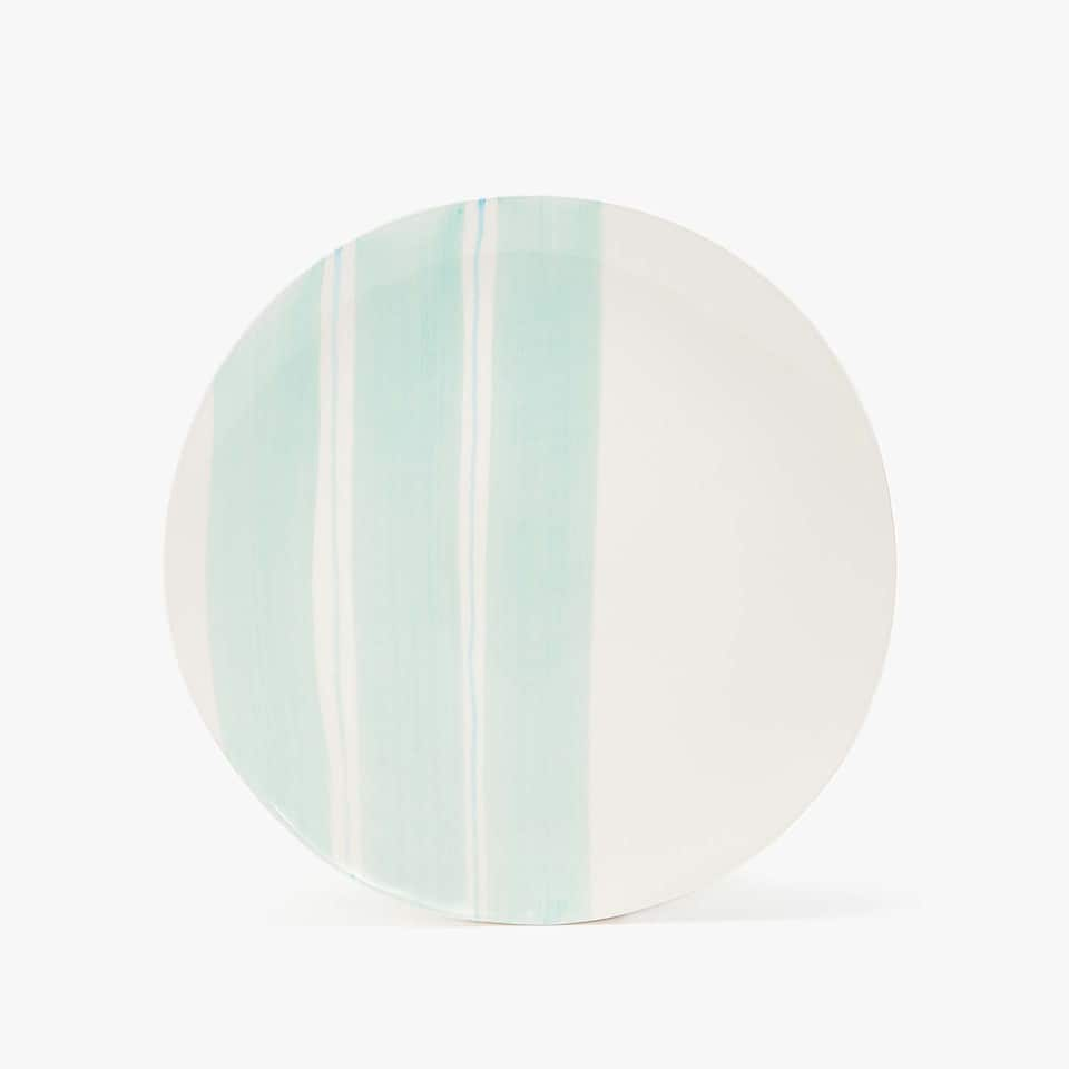 EARTHENWARE DINNER PLATE WITH COLOURED STRIPES