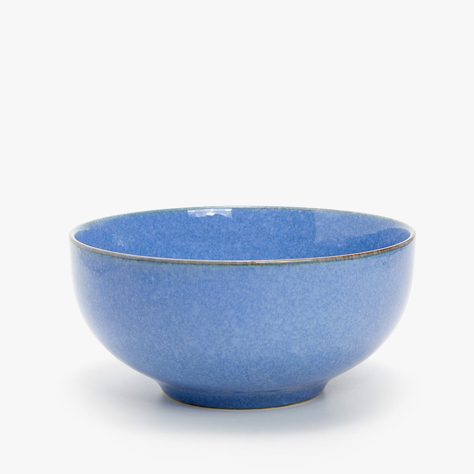 BLUE EARTHENWARE SALAD BOWL WITH CONRASTING RIM