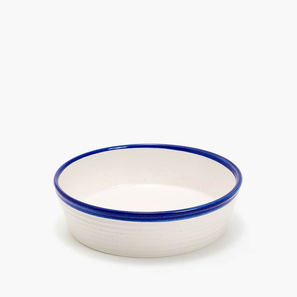 TEXTURED EARTHENWARE SOUP DISH WITH IRREGULAR EDGE