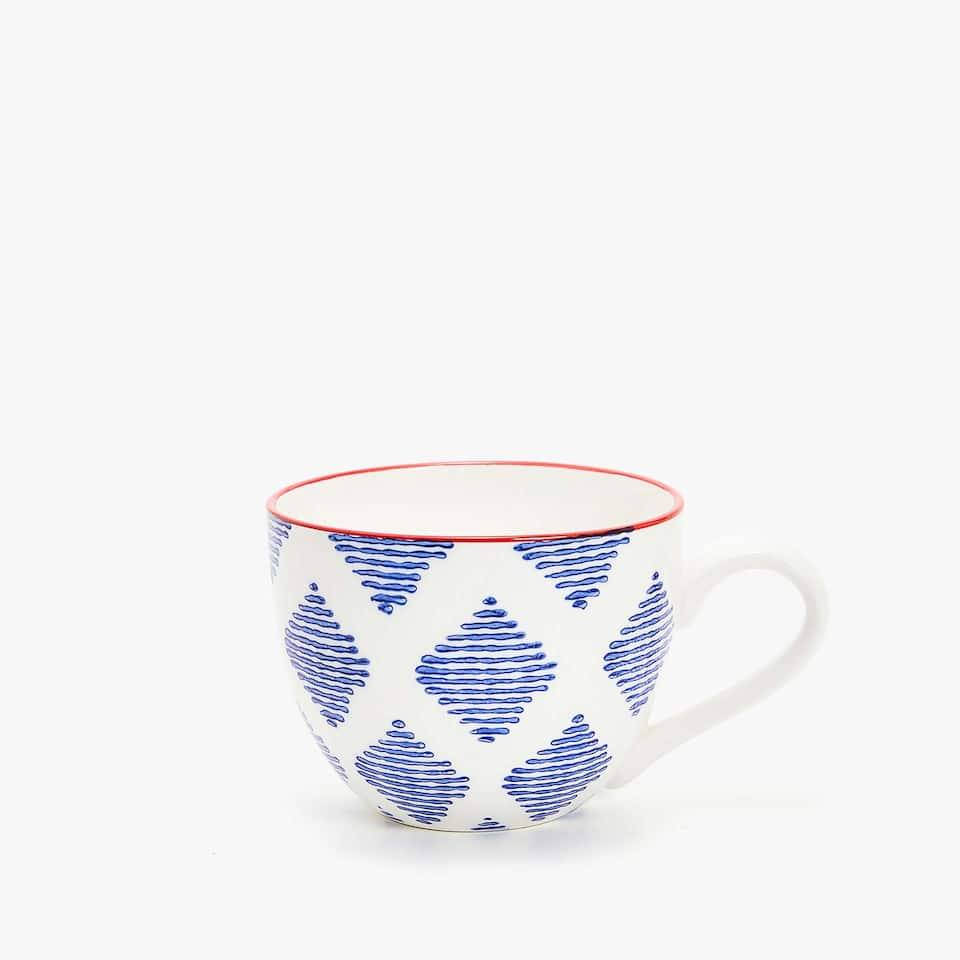 LARGE PRINTED PORCELAIN MUG