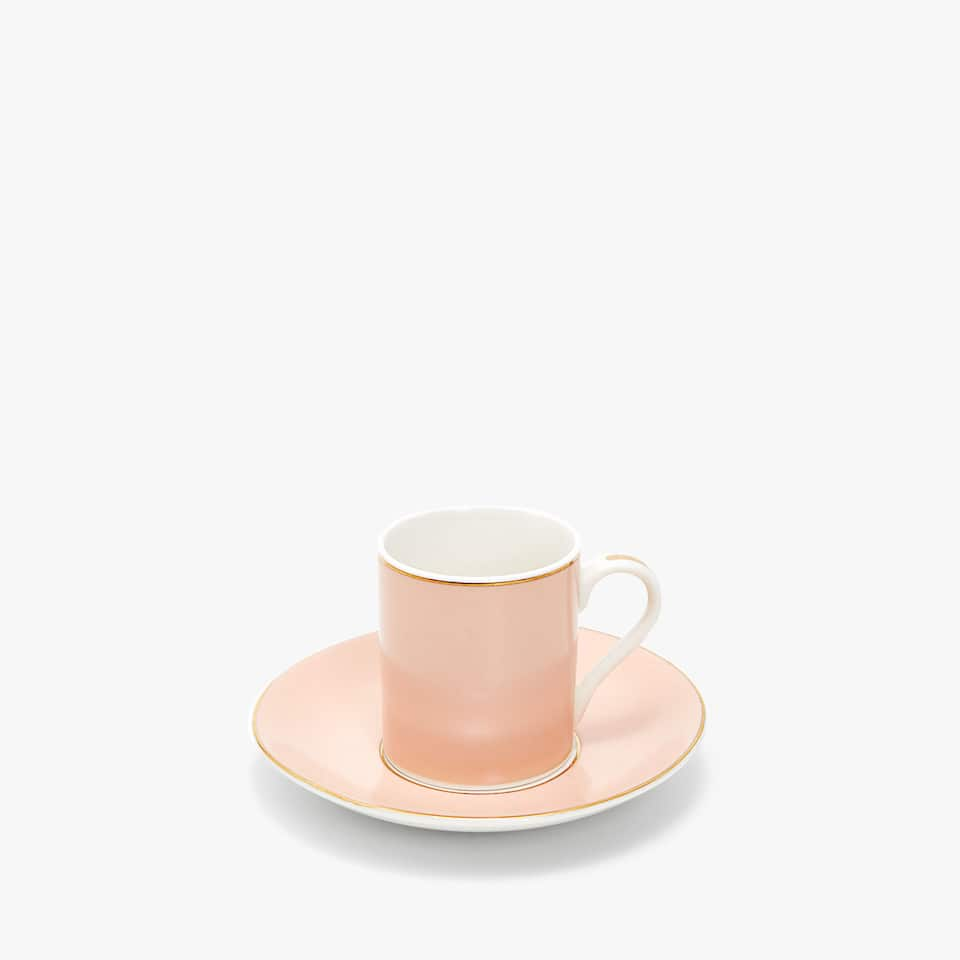 GOLD-RIMMED PORCELAIN COFFEE MUG AND SAUCER
