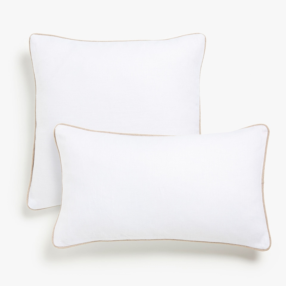 Linen cushion cover with contrasting edging