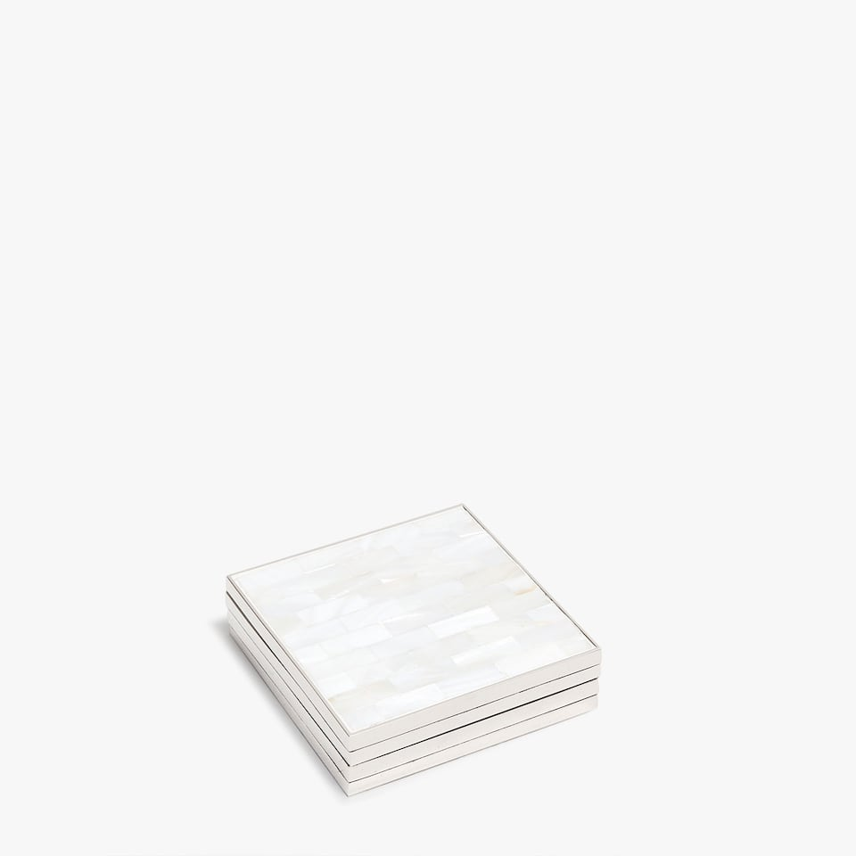 SQUARE COASTERS WITH MOTHER-OF-PEARL FINISH (SET OF 4)