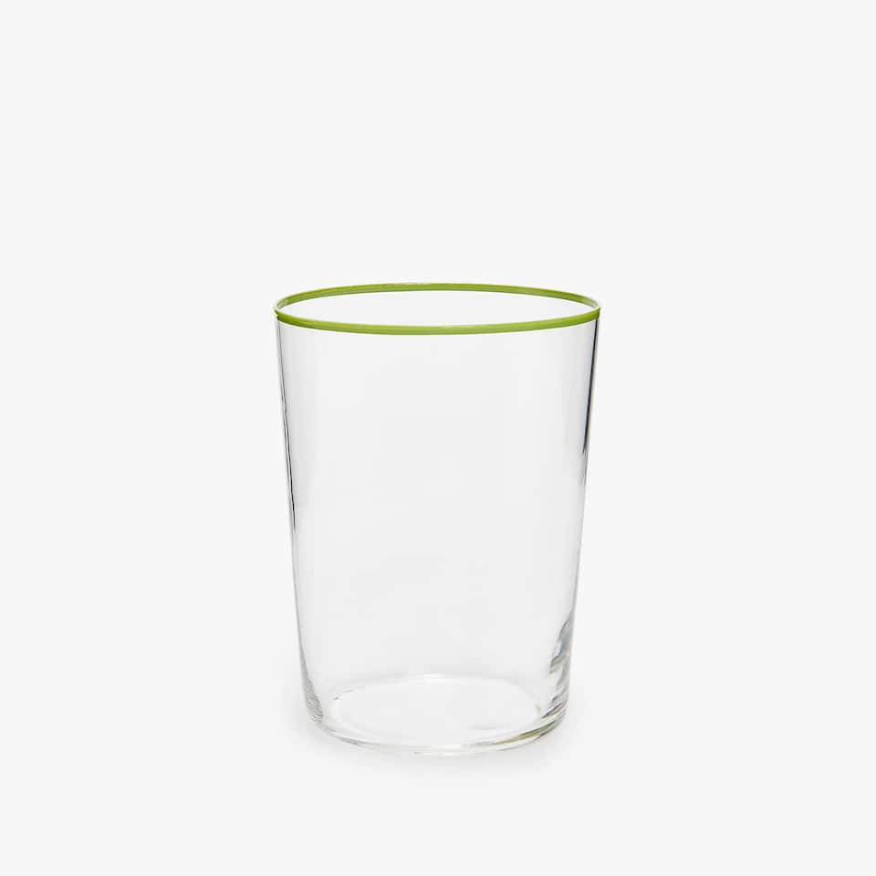COLOURED RIM SOFT DRINK TUMBLER