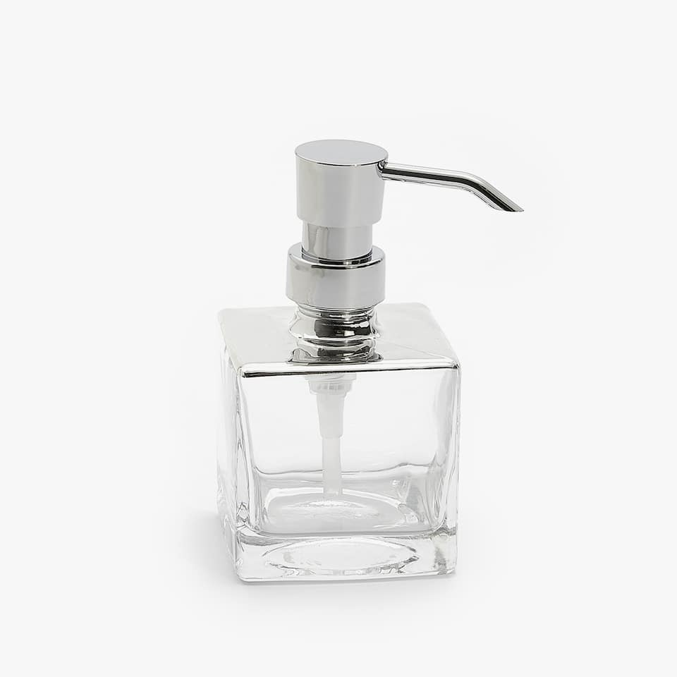 SILVER GLASS SOAP DISPENSER