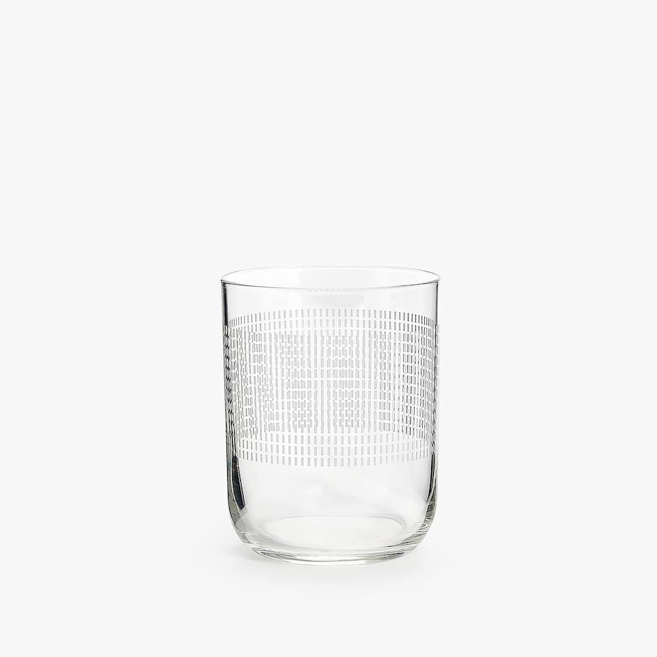 CHECKED TRANSFER OVAL GLASS TUMBLER