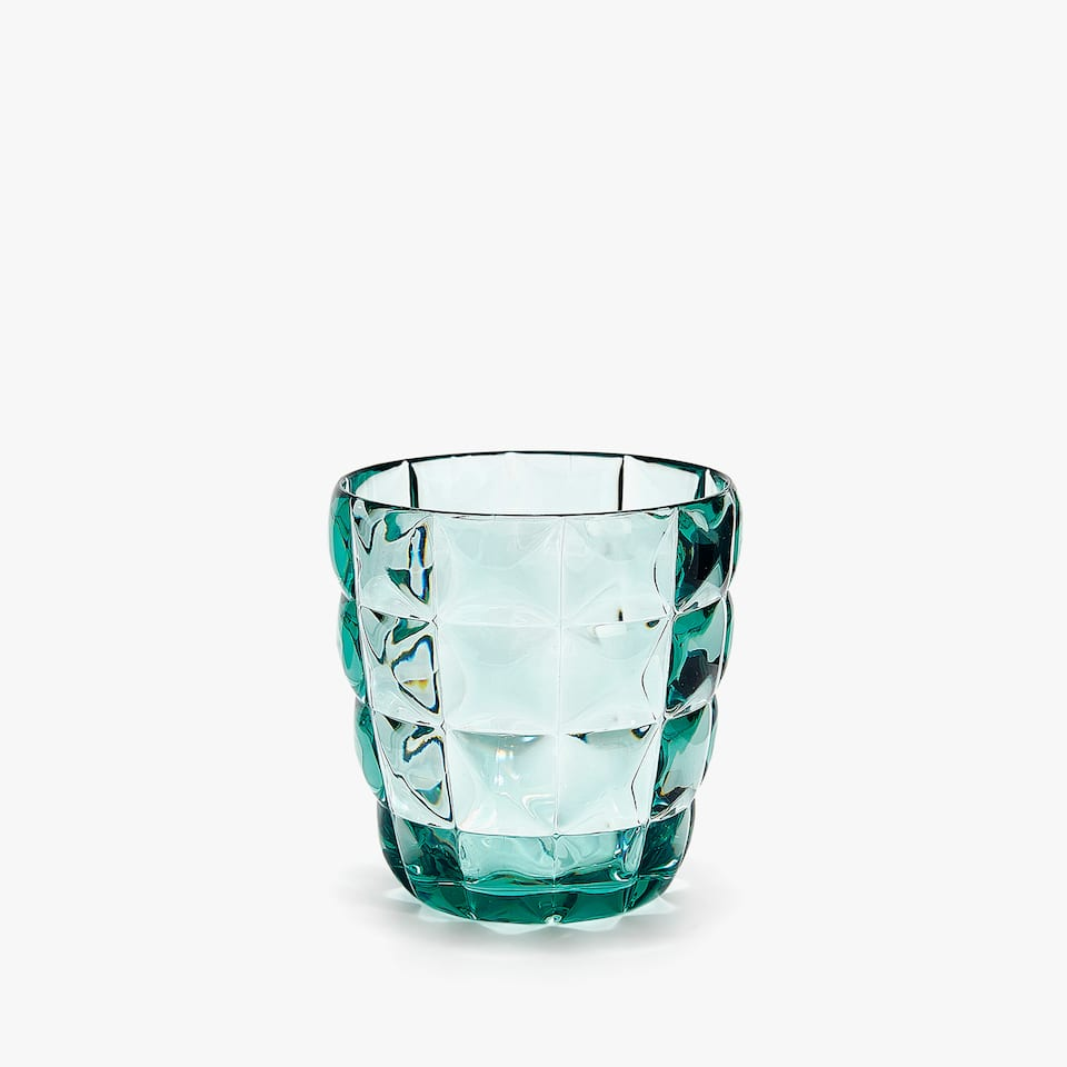 RAISED SQUARE DESIGN TUMBLER