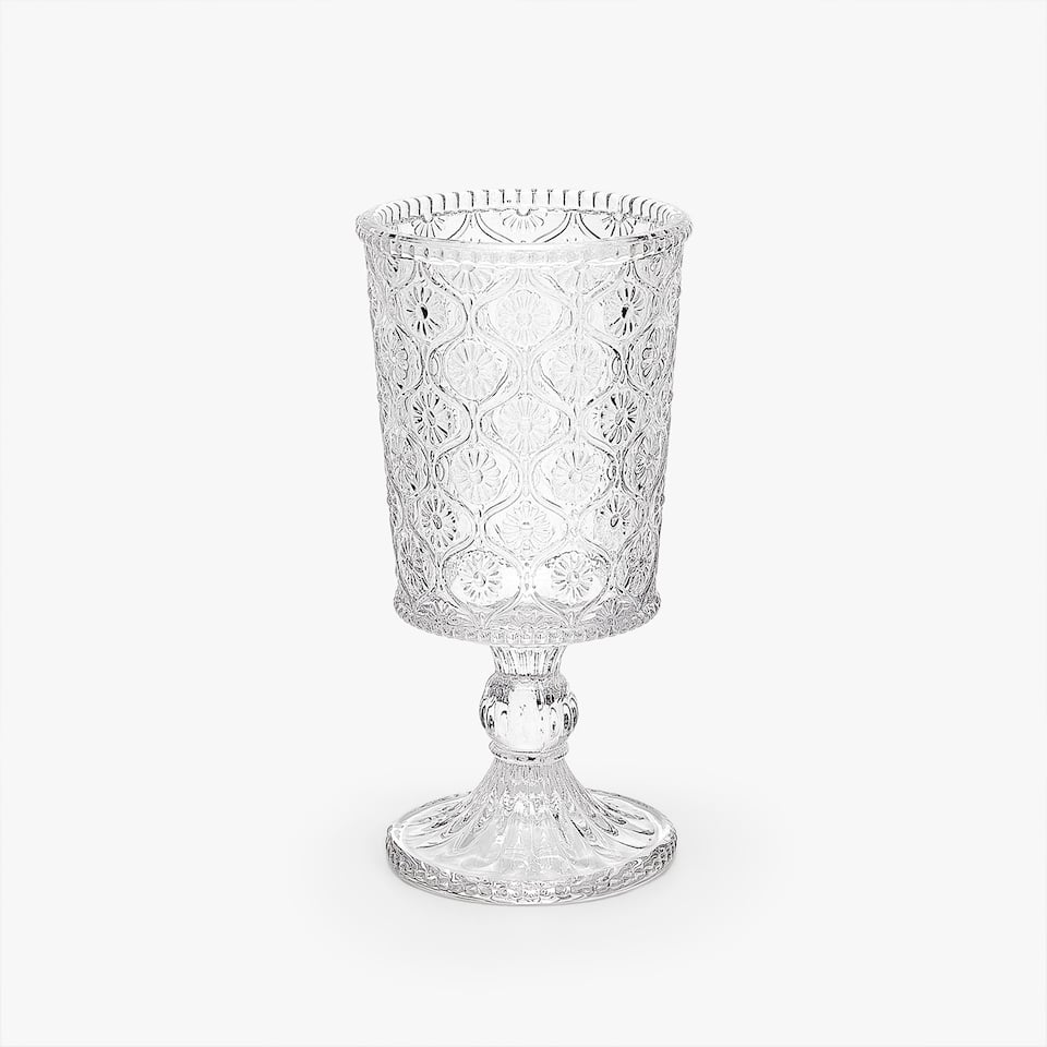 RAISED FLOWERS WINE GLASS