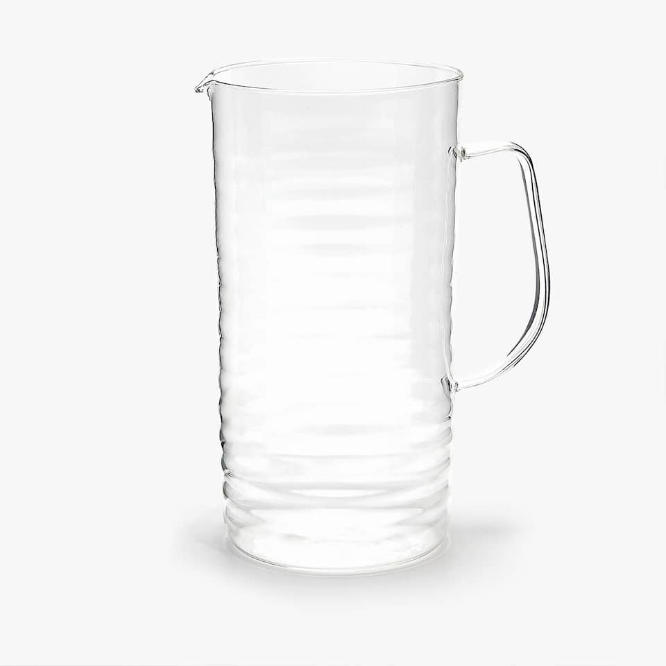 BOROSILIATE GLASS JUG WITH WAVY DETAIL
