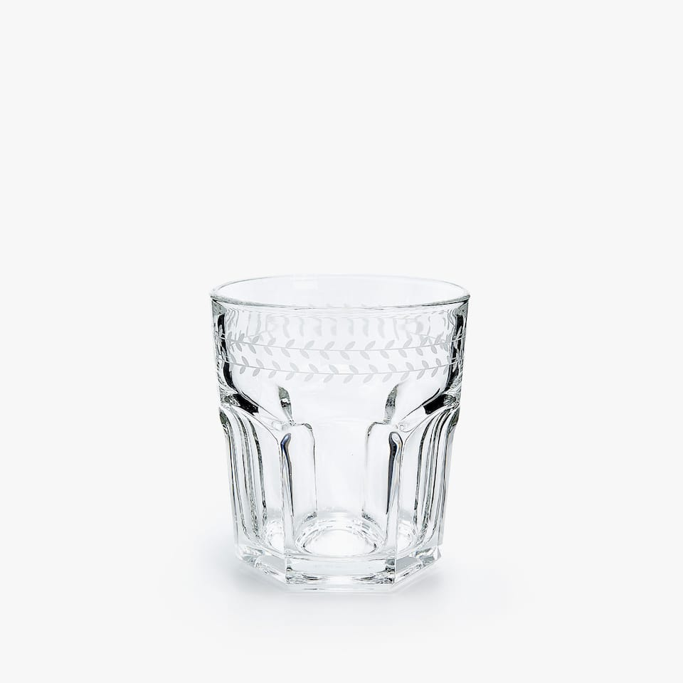FACETED GLASS TUMBLER WITH BORDER