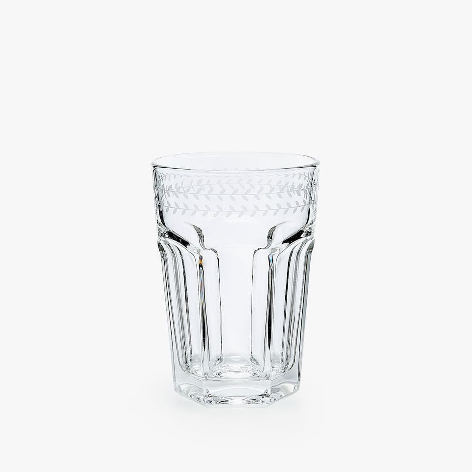 FACETED GLASS SOFT DRINK TUMBLER WITH BORDER