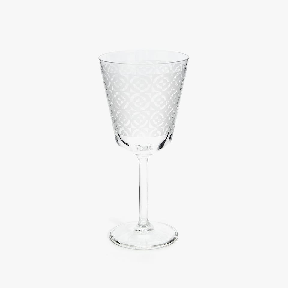 WHITE TRANSFER WINE GLASS