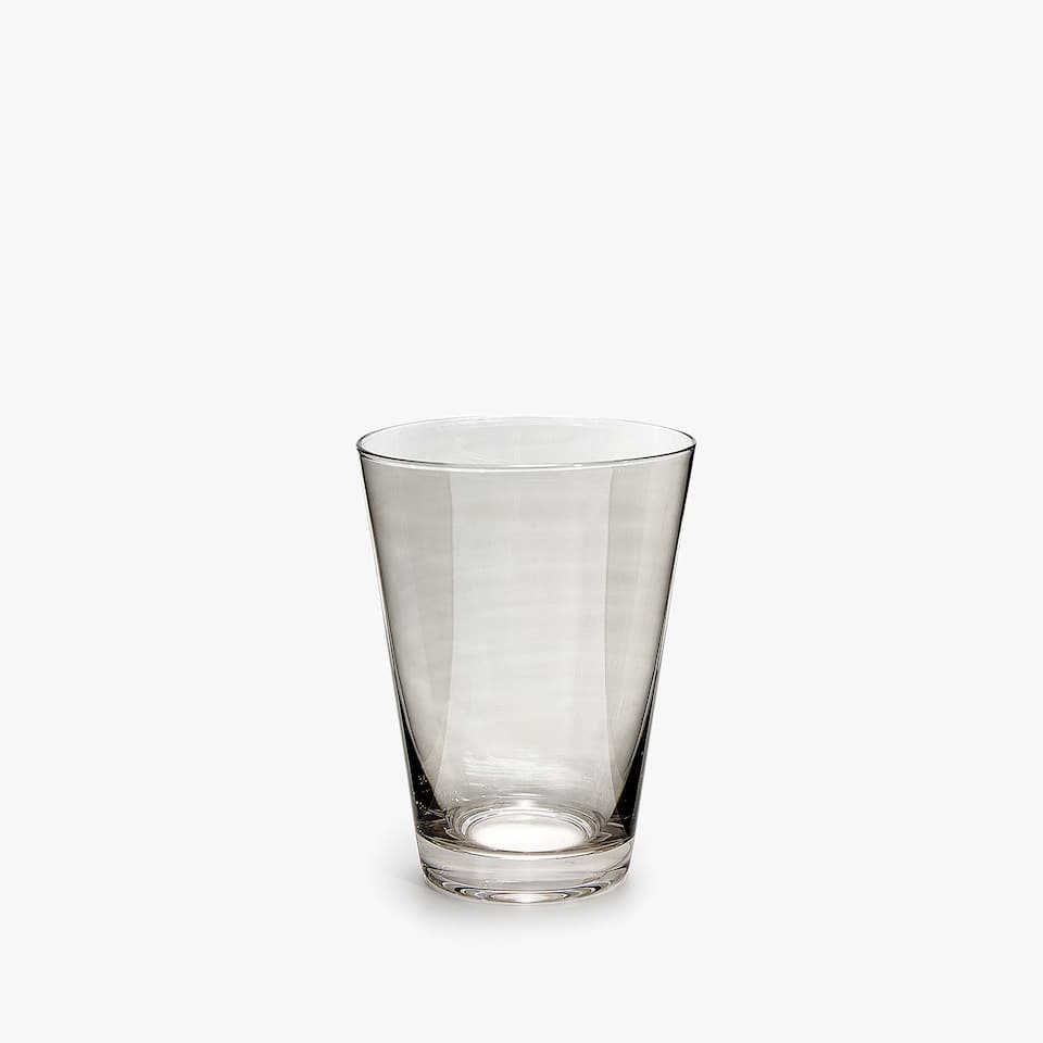 GREY SHINY GLASS TUMBLER