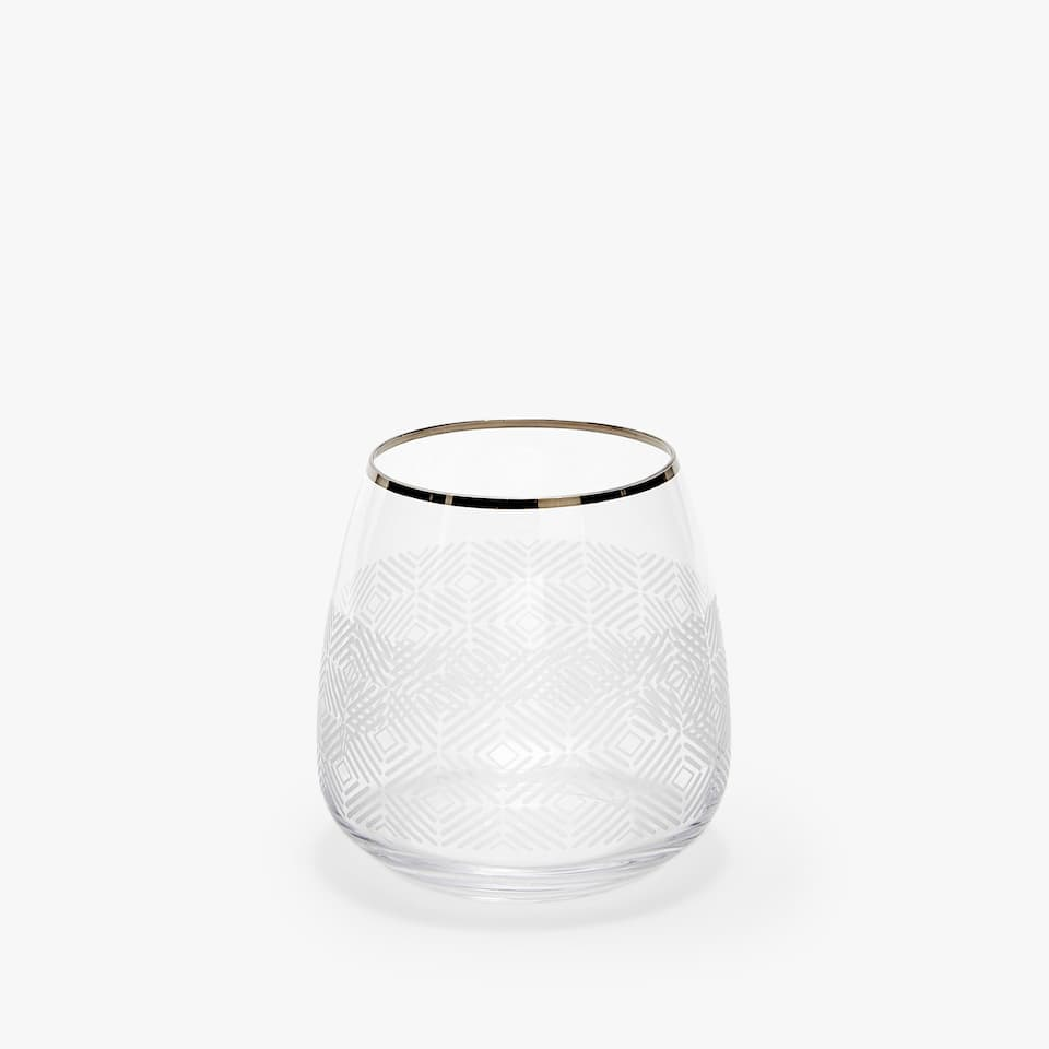 ENGRAVED CRYSTALLINE TUMBLER WITH SILVER RIM
