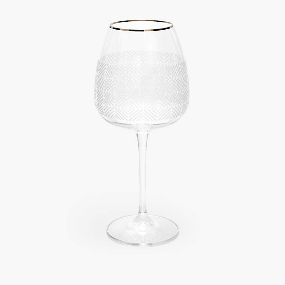 ENGRAVED CRYSTALLINE WINE GLASS WITH SILVER RIM