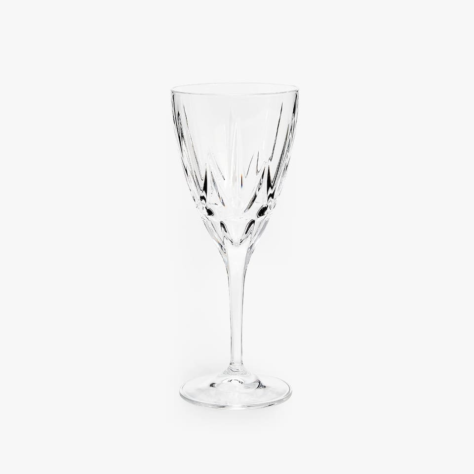 ENGRAVED-EFFECT CRYSTALLINE WINE GLASS