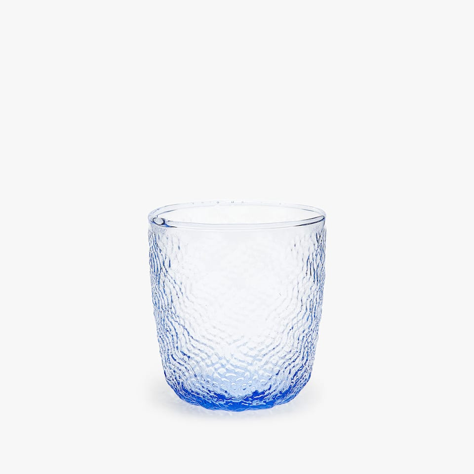 RAISED TEXTURE GLASS TUMBLER