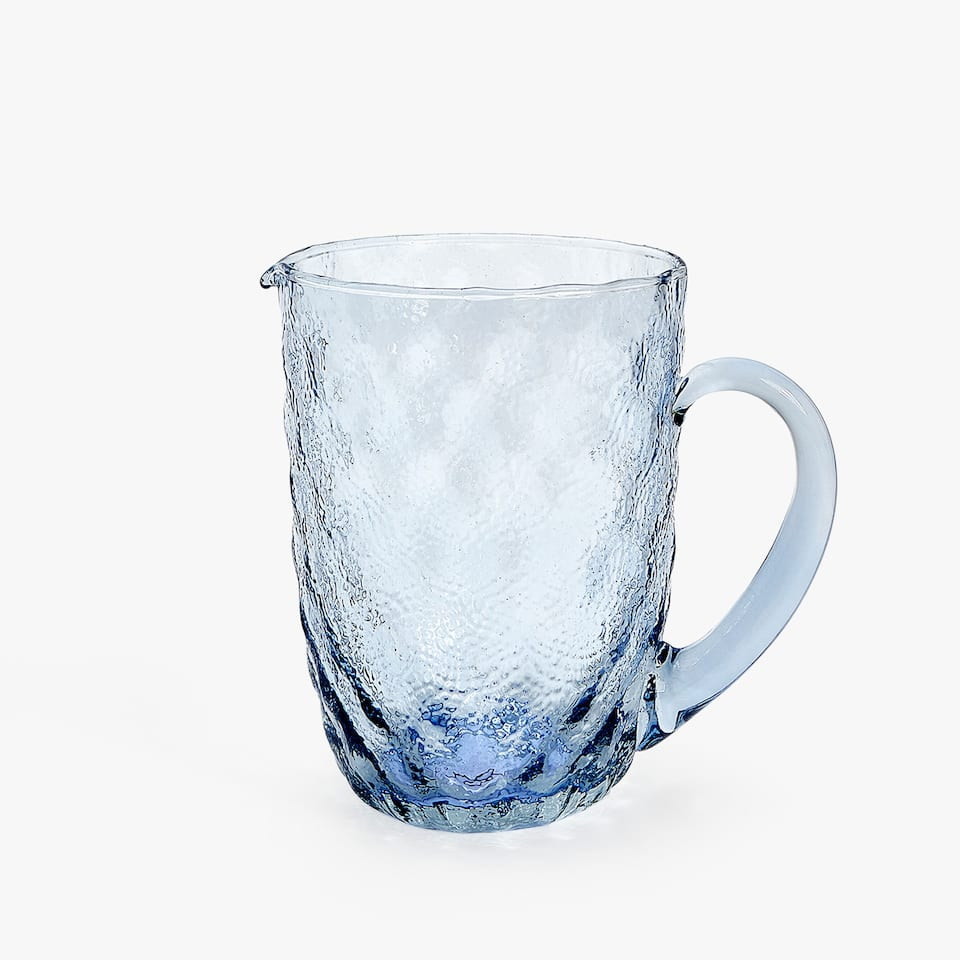 RAISED TEXTURE GLASS JUG