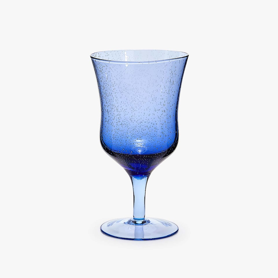 BLUE BUBBLES-EFFECT WINE GLASS