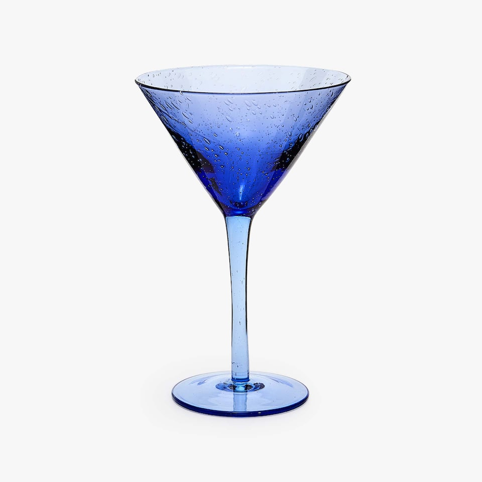 BLUE BUBBLES-EFFECT MARTINI GLASS