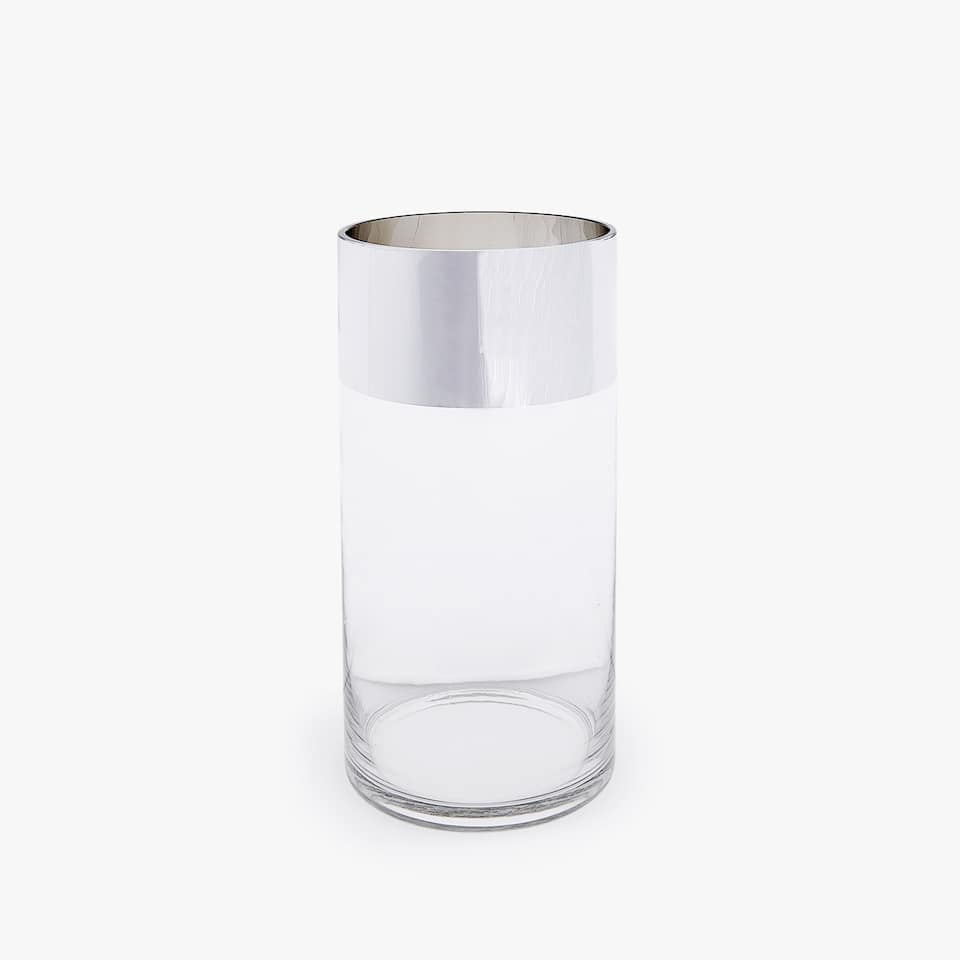 GLASS VASE WITH SILVER RIM