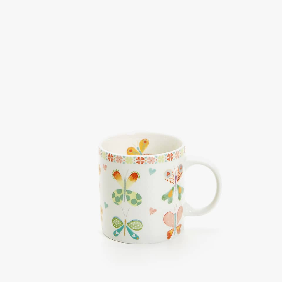 WATERCOLOUR BUTTERFLY PORCELAIN MUG