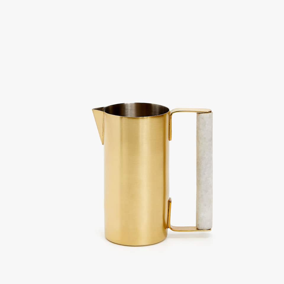 MATTE STEEL MILK JUG WITH MARBLE HANDLE
