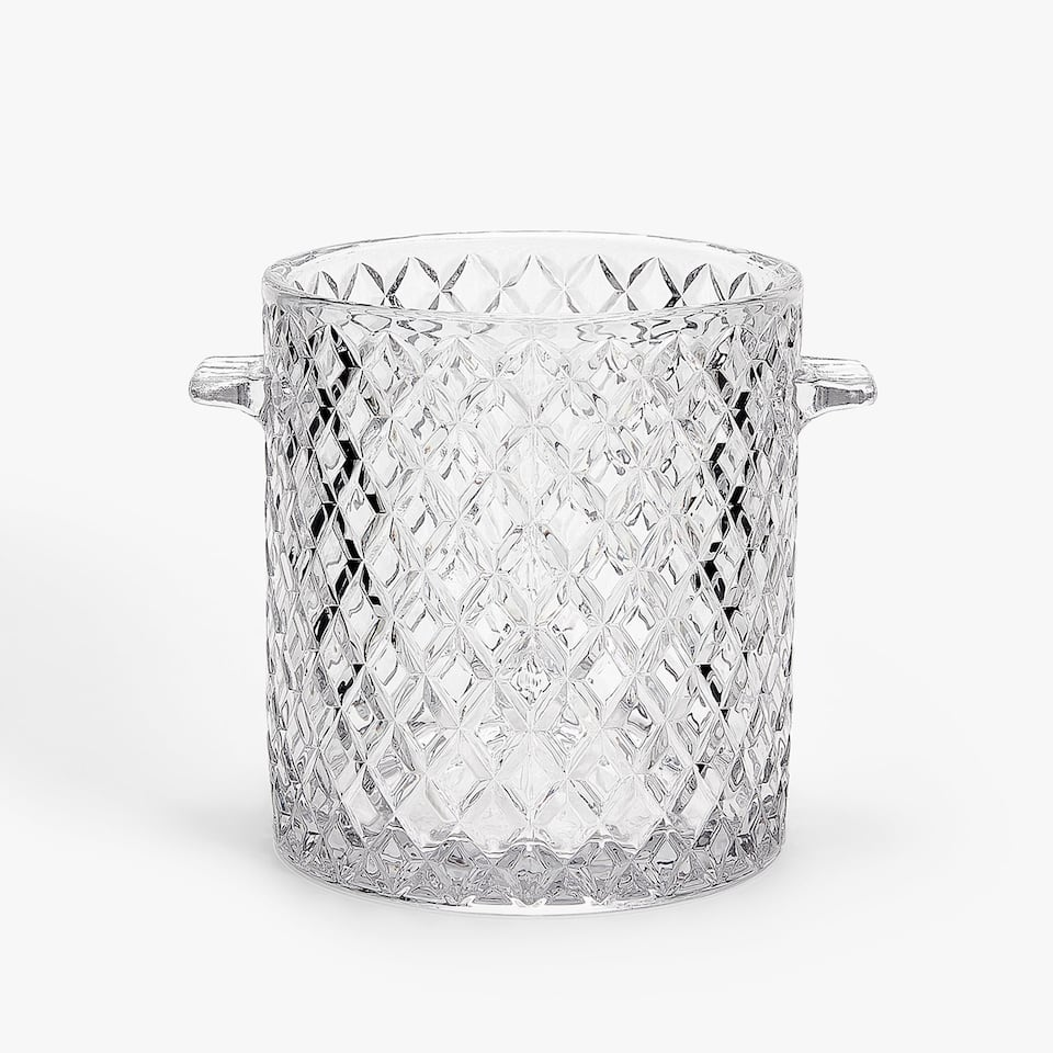 GEOMETRIC ENGRAVED GLASS ICE BUCKET