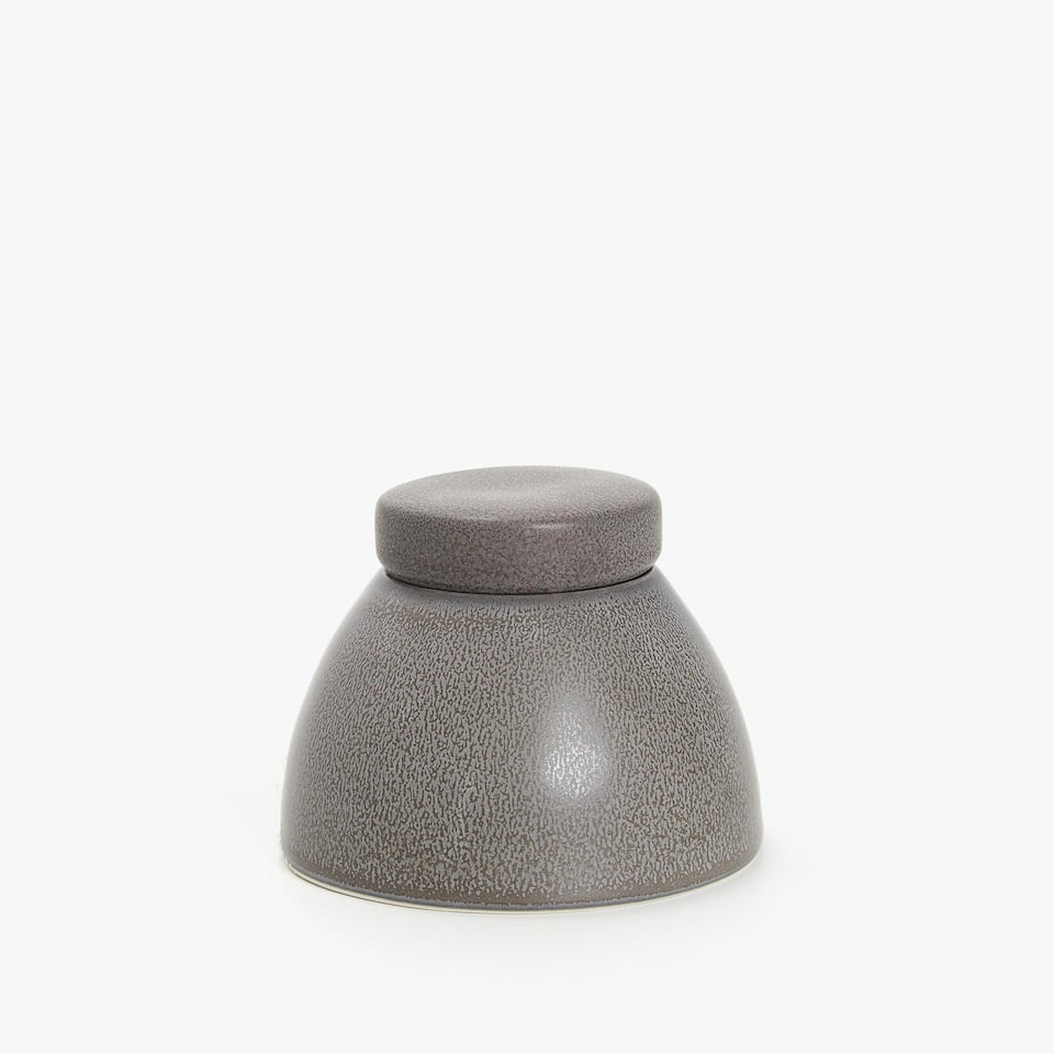 ANTHRACITE COLOUR STONEWARE SUGAR BOWL