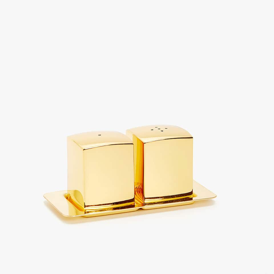 GOLD SALT SHAKER, PEPPER SHAKER AND TRAY SET