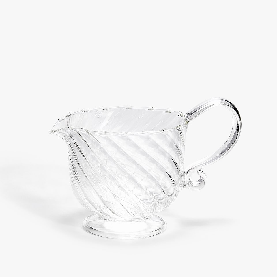 WAVY TRANSPARENT BOROSILICATE GLASS MILK JUG